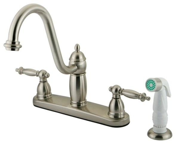 "Satin Nickel Double Handle 8"" Kitchen Faucet with White"