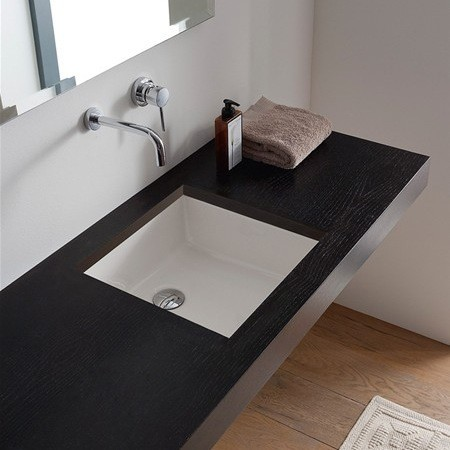Square White Ceramic Undermount Sink Contemporary Bathroom Sinks By Thebathoutlet