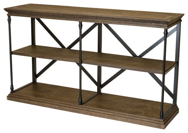 Braylon 3 Shelf Industrial Wood Bookshelf Dark Khaki