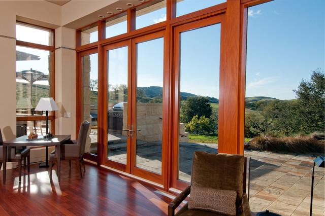 Modern Window Designs: Genuine Mahogany French Doors With Transom