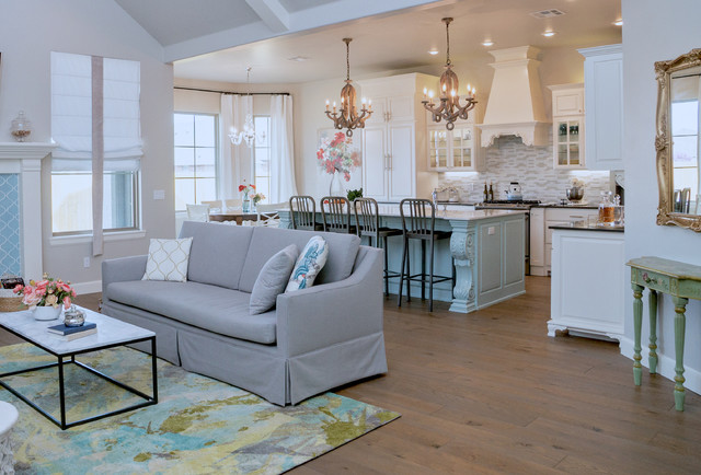 Open And Inviting Living Room Kitchen With Modern