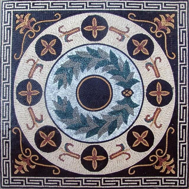 Greco roman floral panel apollo green r stico - Azulejos roman ...