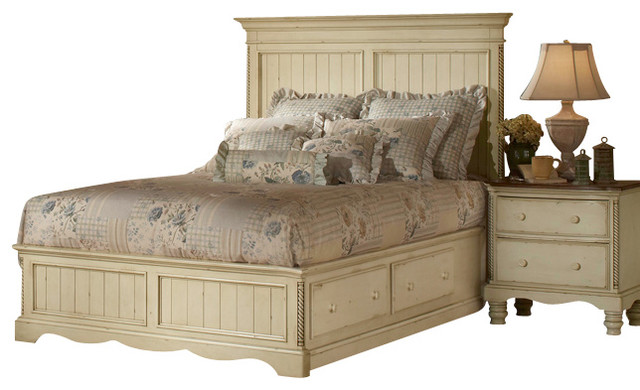 Hillsdale wilshire 4 piece panel storage bedroom set in antique white queen traditional for White traditional bedroom furniture