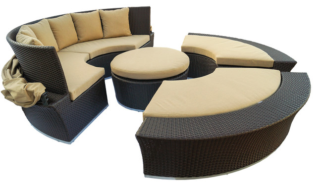 Oahu Outdoor Round Wicker Daybed Modern Outdoor Lounge