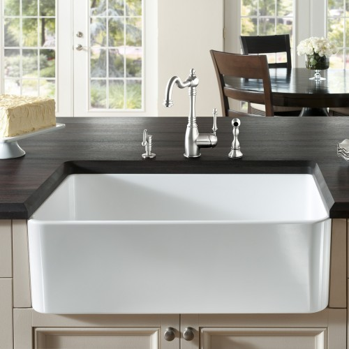 Apron Sink 30 : Cerana Apron Front 30 Inch Kitchen Sink - Modern - Kitchen Sinks
