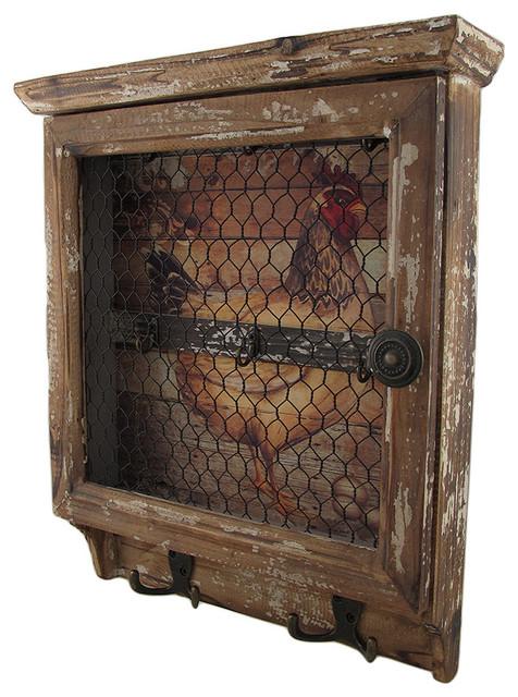 Distressed Chicken Wall Key Holder - Farmhouse - Wall ...