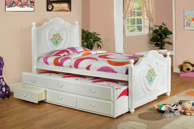 684 Free Shipping White Wood Girls Twin Captain Bed
