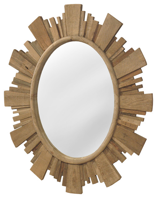 Sunburst Rustic Lodge Reclaimed Pine Oval Mirror Rustic