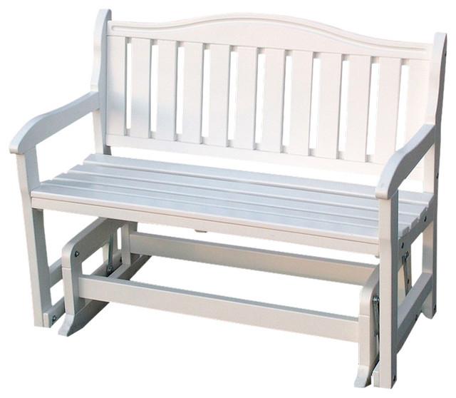 Garden Bench Glider Satin White Beach Style Outdoor Benches By Prairie Leisure Design