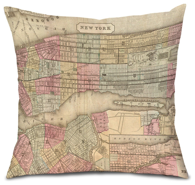 Eclectic Style Pillows : Antique Style Maps, New York Pillow Cover - Eclectic - Decorative Pillows - by Oso+Bean