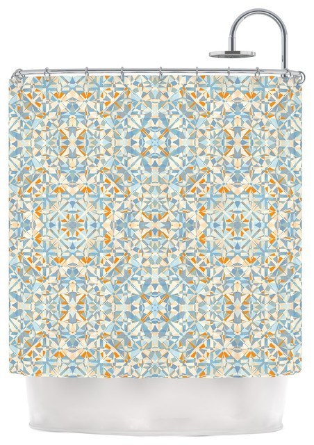 Allison Soupcoff Coastal Orange Blue Shower Curtain Contemporar