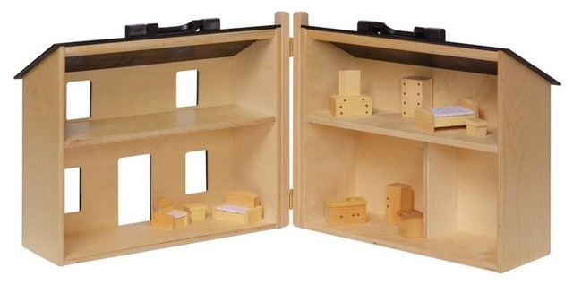 Folding Wooden Doll House With Furniture, Maple - Craftsman - Kids Toys And Games - by Clip Clop ...
