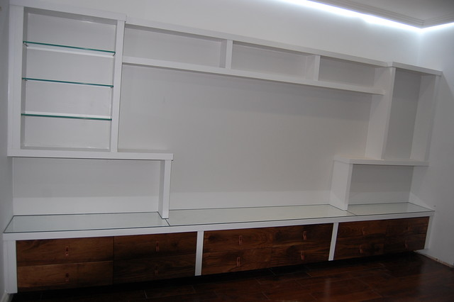 Painted Television Unit With Toughened Glass Tops Shelves And Walnut Drawers