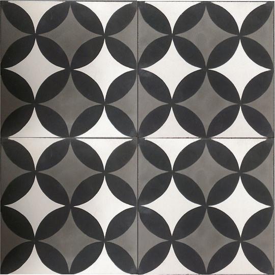 Handmade cement encaustic tiles classic black white for Handmade cement tiles