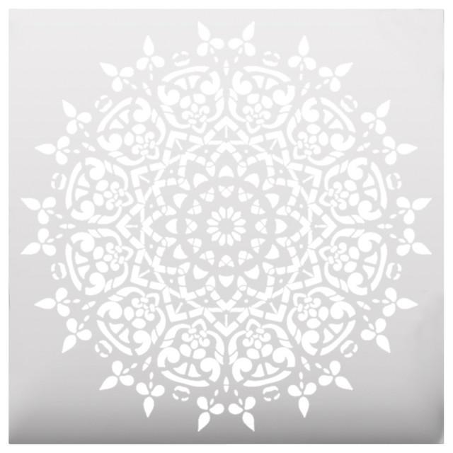 Round symmetrical mandala stencil craftsman wall stencils by