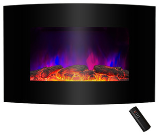 Wall-Mount Tempered Glass 2-Setting Fireplace Heater