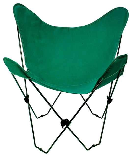 Butterfly Chair and Cover bination With Black Frame Hunter Green Midcen