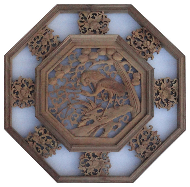 Chinese Wood Carved Octagonal Scenery Wall Decor Panel Asian Wall