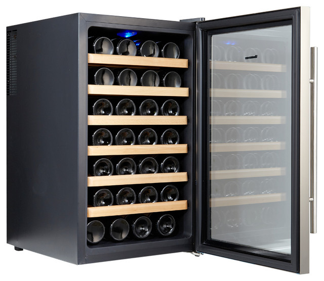 Kalamera kr 28ass 28 bottle stainless steel freestanding for Beer and wine cooler table