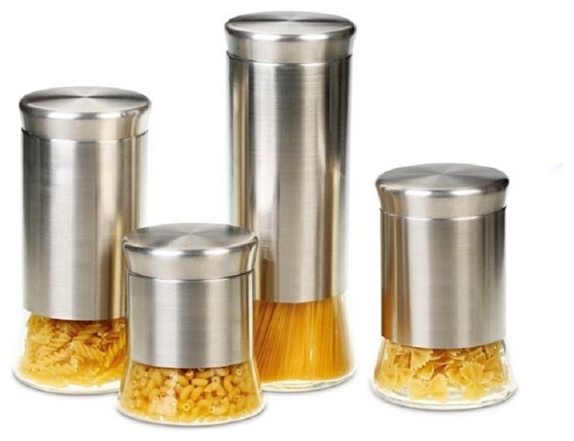 flairs stainless steel 4 piece canister set contemporary