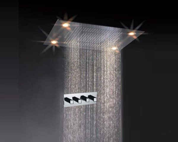 Ceiling Mounted Rainfall LED Shower Faucet Rectangle Shower Head Contempora