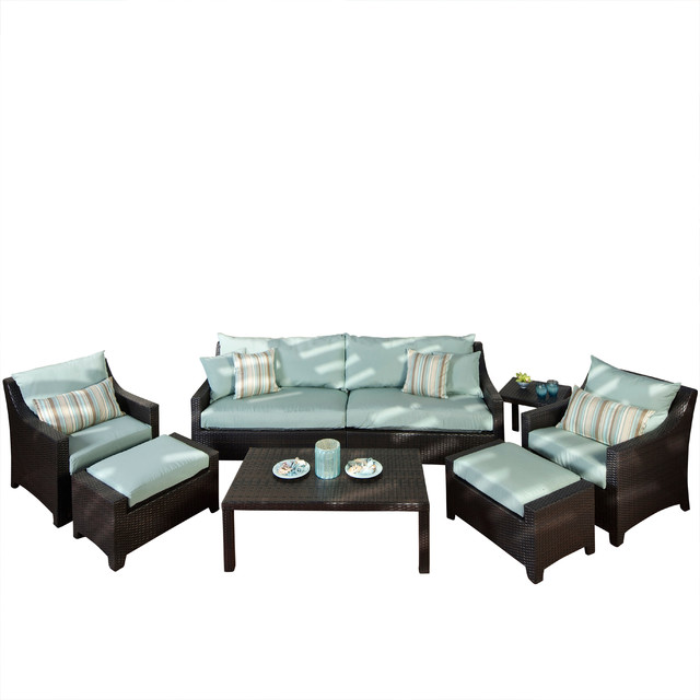 Deco 8 piece sofa and club chair set bliss blue contemporary garden lounge sets by rst - Deco lounge oud en modern ...