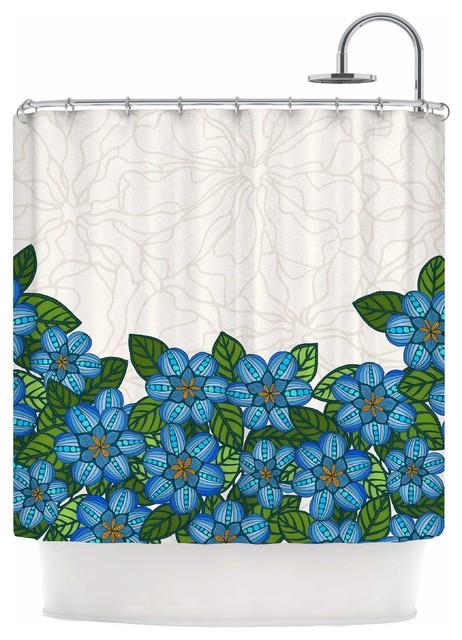 Art Love Passion Blue Flower Field Beige Blue Shower Curtain Fa