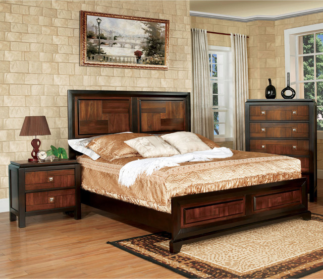 Furniture of america duo tone 2 piece acacia and walnut for American black walnut bedroom furniture