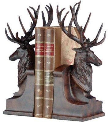 Deer Head With Large Antlers Bookends Modern Home