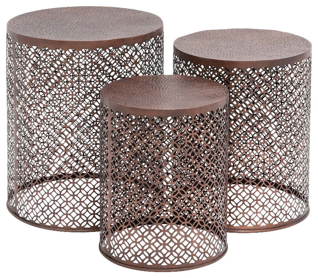 Modern Inspired Style The Intricate Set Of 3 Metal Table Home Decor 23942 Traditional Coffee