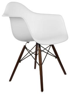 Sleek Walnut Retro Wood Arm Chair, White - Anni '50 - Poltrone e sedie in stile - di First of a ...