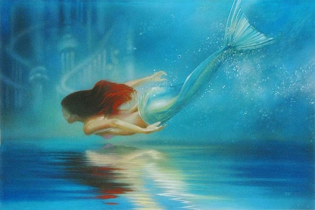 Disney Fine Art Underwater Princess By John Rowe