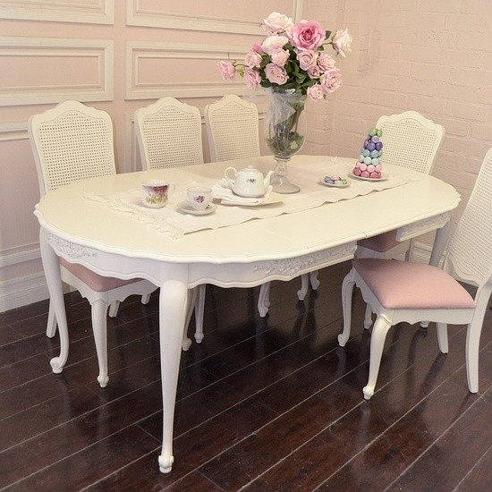 White Dining Table Bench: French Style White Dining Table With 3 Leaves