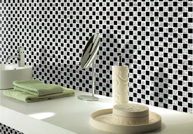 black and white glass tile backsplash kitchen bathroom wall stickers