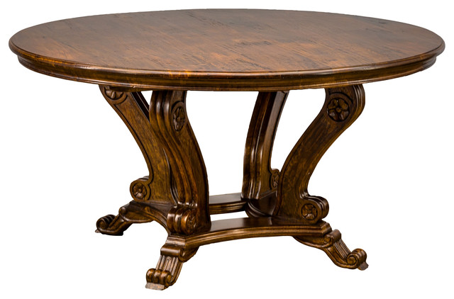 Crown Round Table Antique Black Traditional Dining