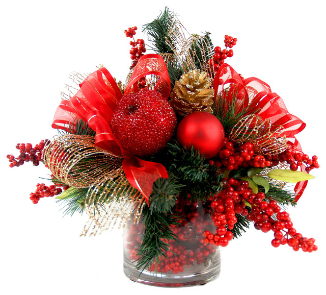 Iced Apple And Berry Floral Arrangement Red Gold Green Traditional Christmas