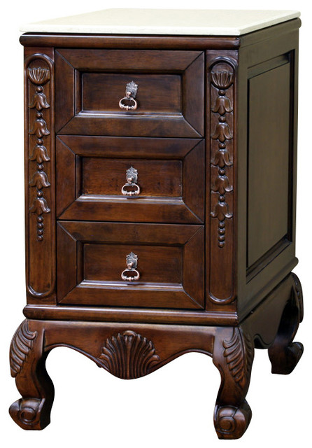 Cream Bedside Tables: Marble Top Side Chest-Wood-Walnut-Cream Marble Traditional