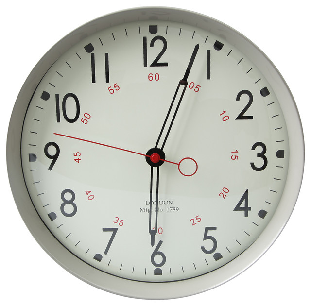 adeco gray iron round wall school clock with large numbers