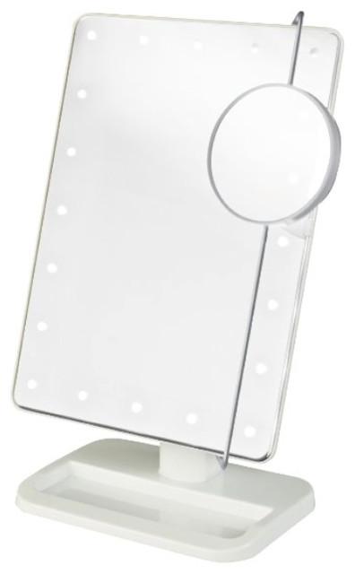 8 portable led lighted adjustable tabletop makeup mirror