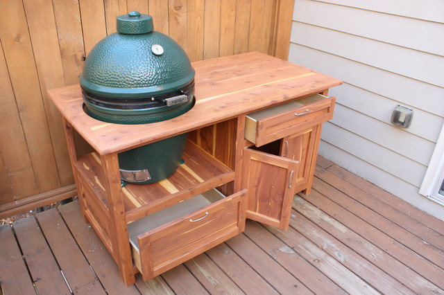 Outdoor Grill Station For Green Egg Traditional