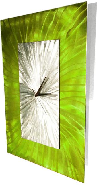 Burst modern abstract metal sculpture art wall clock for Lime green wall art