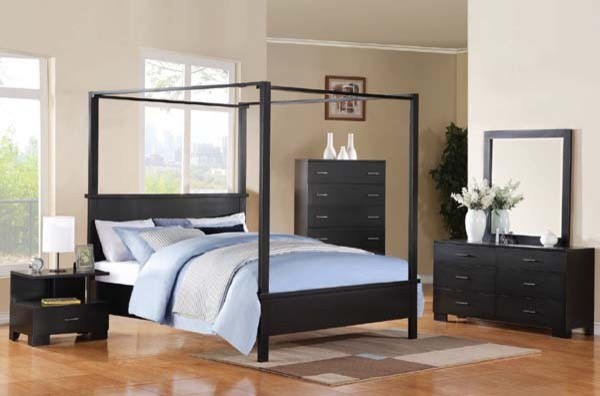 Contemporary Bedroom Set London Black By Acme Furniture: London Black 5 Piece King Canopy Bedroom