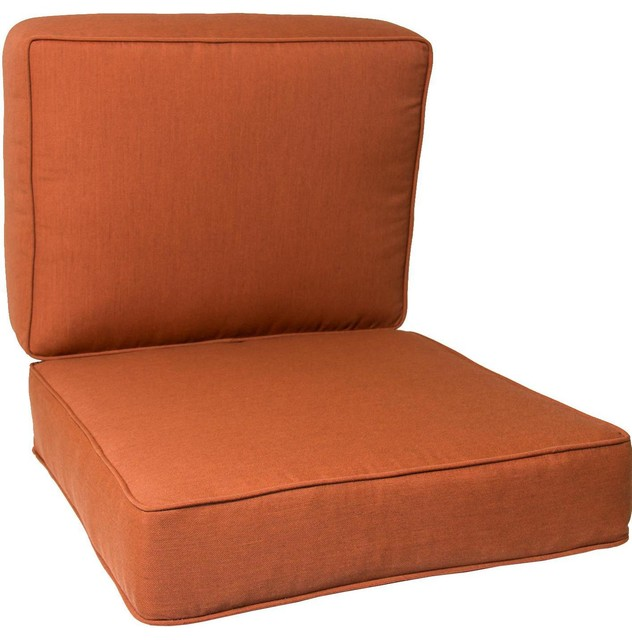 small replacement club chair cushion set with piping canvas paprika