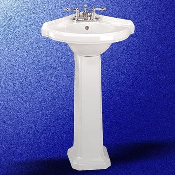 Portsmouth Corner Pedestal Sink White 32 3 4in H Traditional Bathroom Sinks Other Metro