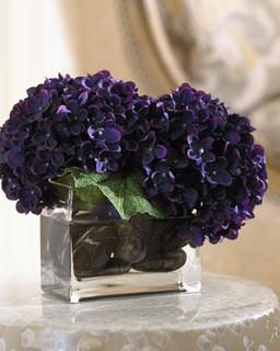 Faux Purple Hydrangea Arrangement Traditional Patio