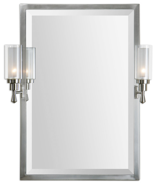 Wall Sconces With Mirrors : Amadora Mirror With Sconces - Traditional - Wall Mirrors - by Bludot