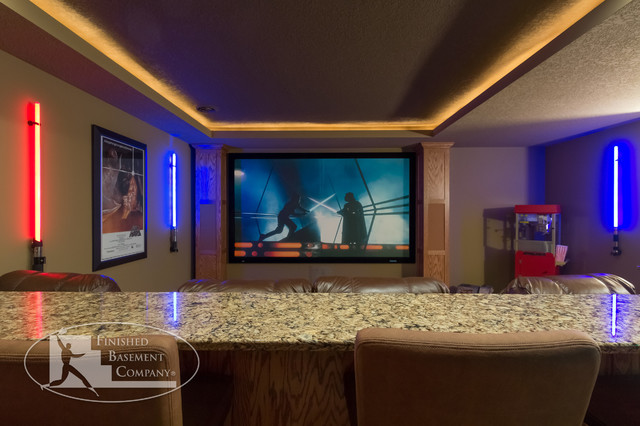Basement Home Theater Traditional Basement