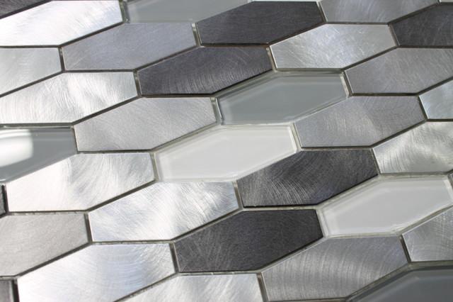 Metro Long Hexagon Brushed Aluminum And Glass Mosaic Tiles
