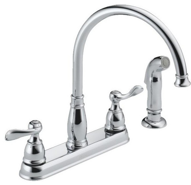 Delta Windemere Faucet Brushed Nickel: Delta Windemere Series 2-Handle Kitchen Faucet With Spray
