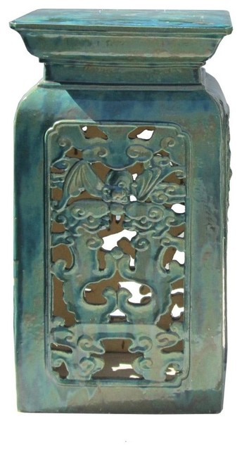 Chinese Ceramic Clay Turquoise Green Square Tall Pedestal
